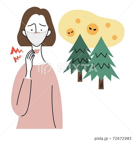 花粉症で喉に痛みを感じる女性(マスク着用) 72672985