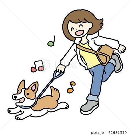 愛犬と散歩をする女性のイラスト 72681559
