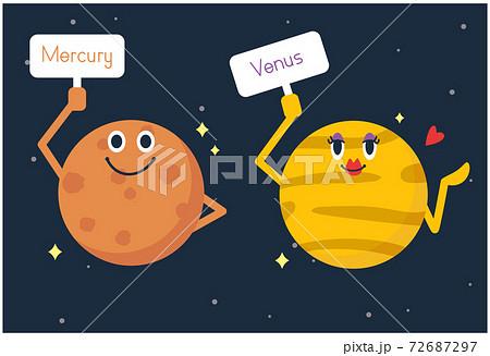 太陽系の惑星の水星と金星をイメージしたイラスト 72687297