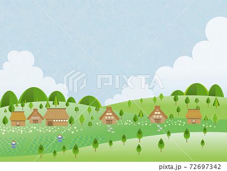 青空と古民家の背景素材 72697342