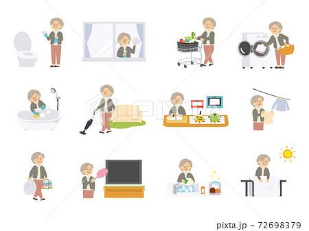 家事をする高齢女性のイラスト 72698379
