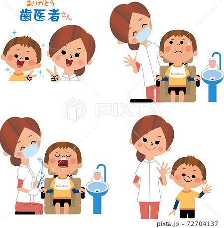 女性歯科医と子ども 72704137