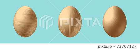 Vintage engraving egg three vector style illustration isolated on blue BG 72707127