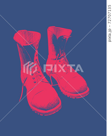 Red boots shoe vintage glyph drawing isolated on blue BG 72707135