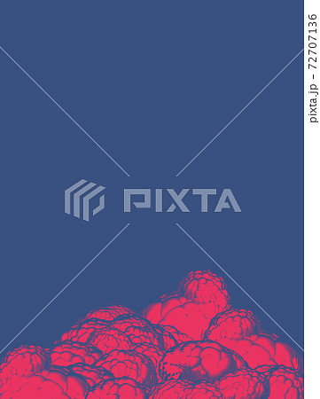 Engraving cloud illustration antique style isolated on blue BG 72707136
