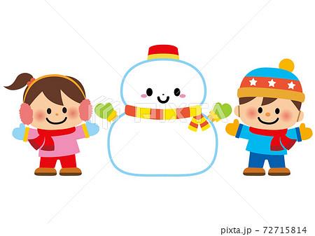 雪だるまと子供 72715814