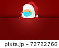 Santa Claus and wearing medical mask holding banners, billboards, Christmas during Covid-19 isolate on red  background graphic resources  for web, promote , sales New  Year, vector  72722766