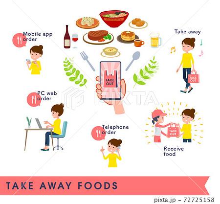 flat type Bun hair mom_Take away foods 72725158