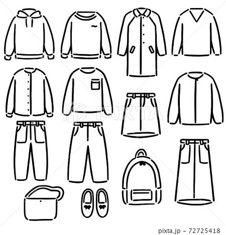 洋服 ファッション モノクロ イラスト セット 72725418