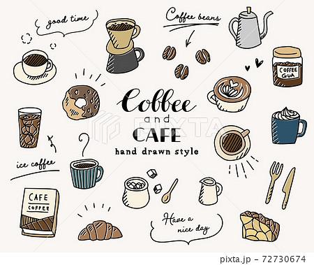 手描きのコーヒー、カフェのイラスト/セット/珈琲/スケッチ/スイーツ/マグカップ/おしゃれ 72730674
