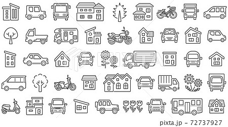 家と車と二輪車と植物のアイコンセット(隙間ありの線のみ) 72737927