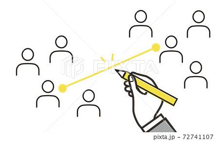 人をつなぐライン、マッチングのイラストイメージ、黄色とグレーのベクター素材 72741107
