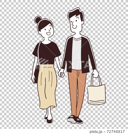 矢量圖材料:夫婦,和一對逛街 72748817