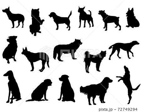 犬シルエット_セット 72749294