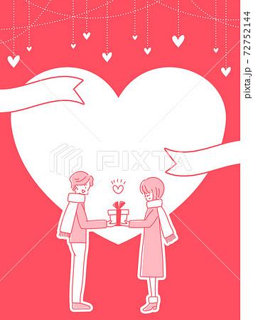 バレンタイン ハート バナー 縦長 POP フレーム 枠 文字入れ用 72752144