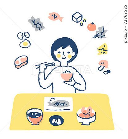 栄養バランスの良い食事をとる女性  72763585