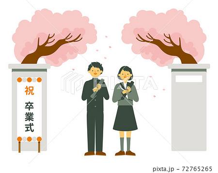 卒業式の男の子と女の子・学ラン セーラー服 72765265