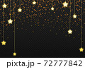 Gold glitter particles with hanging stars isolate on png or transparent  background with sparkling  snow, star light  for Christmas, New Year, Birthdays, Special event, luxury card,  rich style.   72777842
