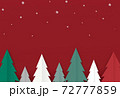 Red Christmas trees, forest with falling snow,t, 3d paper cut style isolate on  png or transparent   background,for new product, promotion, advertising, vector illustration  72777859