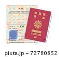 パスポートのイラストのセット(表紙・中面・シンプルなタッチ) 72780852