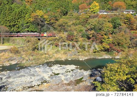 渡良瀬川と紅葉の中を行くトロッコわたらせ渓谷号 72784143