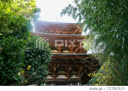 森の緑に囲まれた當麻寺の赤い仏塔 72792525