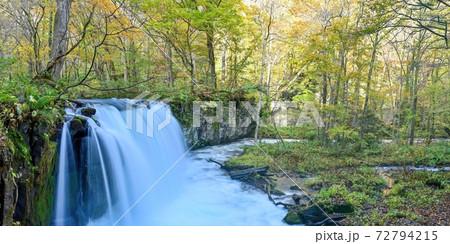 奥入瀬渓流にある紅葉に包まれた晩秋の銚子大滝のパノラマ情景@青森 72794215