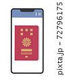 スマホの画面に表示されたパスポートのイラスト(パスポートの電子化・シンプル) 72796175