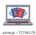 PCの画面に表示されたパスポートのイラスト(パスポートの電子申請・線あり) 72796178