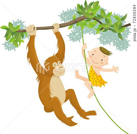 オランウータンと森で遊ぶ子供 72830284