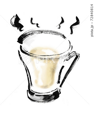 手描き筆書きの透明なグラスに入ったホットミルクのイラスト 72840814