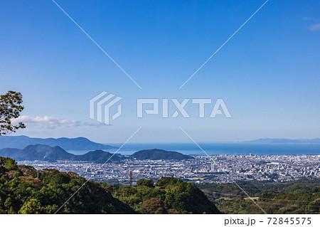 三島スカイウォークから見た三島市方面 静岡県 72845575