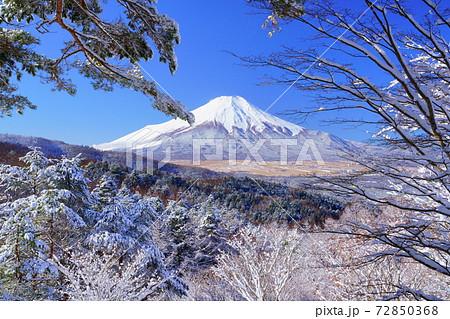 新雪の二十曲がり峠 雪花越し富士山 72850368