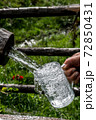 Big Glass Filled With Clear Mountain Drinking Water From A Wooden Spring 72850431