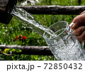 Big Glass Filled With Clear Mountain Drinking Water From A Wooden Spring 72850432