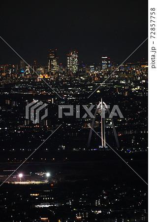 冬の金華山から見た名古屋駅前の高層ビルと一宮タワーの夜景 72857758
