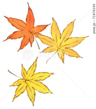秋の紅葉:もみじの葉の水彩イラスト 72876294
