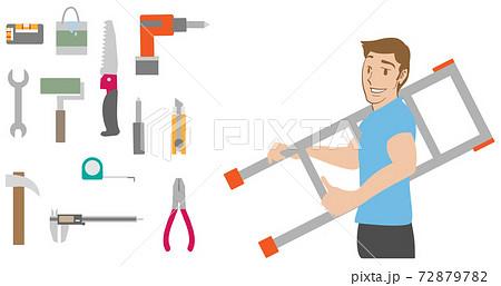 梯子を持つ男性とDIYツールセット 72879782