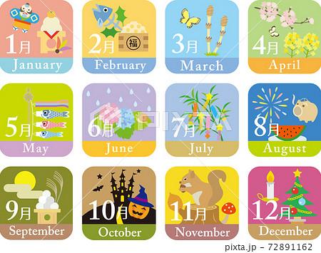12ヶ月カレンダー 72891162