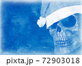 Stylized cold background depicting the skull of the fairytale character Santa Claus in a hat and blue tones 72903018
