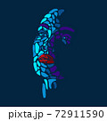 Face of beautiful woman painted by vibrant colors on dark blue studio background 72911590