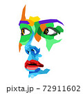 Face of beautiful woman painted by vibrant colors on white studio background 72911602