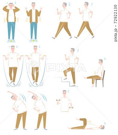 ダイエットと運動と年配の男性セット 72922130