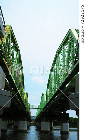 荒川と荒川鉄橋(荒川橋梁)の風景 72922175
