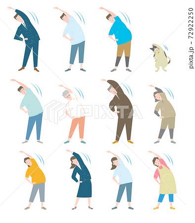体操をする太り気味の人々 72922250
