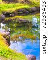 秋空が映り込む湖面 リフレクション 十一月 山梨県 72936493