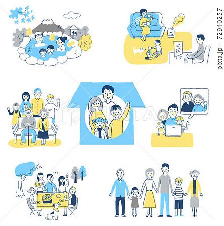 家族の様々なライフシーン セット 72940257