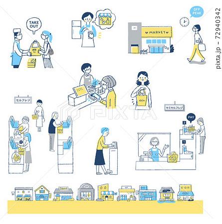 感染症予防対策 新しい生活様式(買い物) セット 72940342