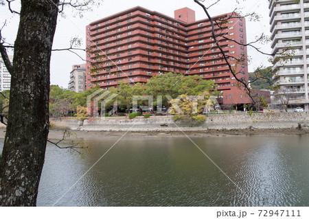 晩秋の広島縮景園から眺めた街並の景色 72947111