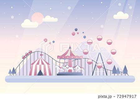 겨울 놀이공원 벡터 일러스트 72947917